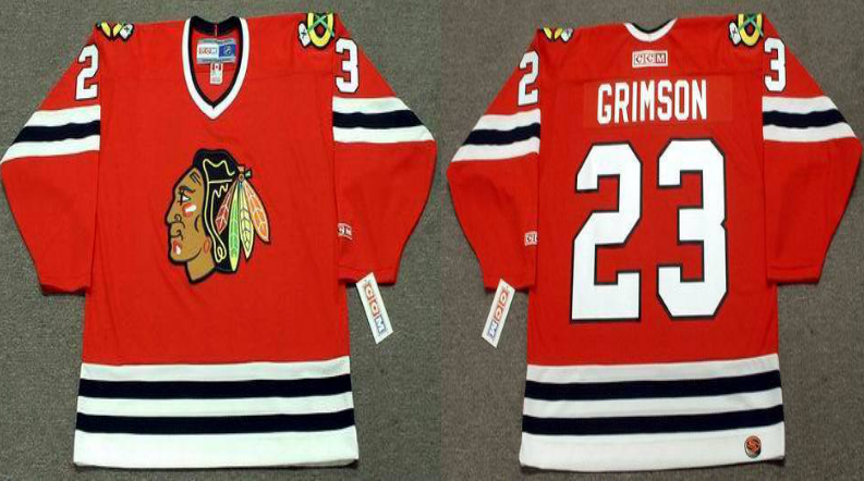 2019 Men Chicago Blackhawks 23 Grimson red style 2 CCM NHL jerseys