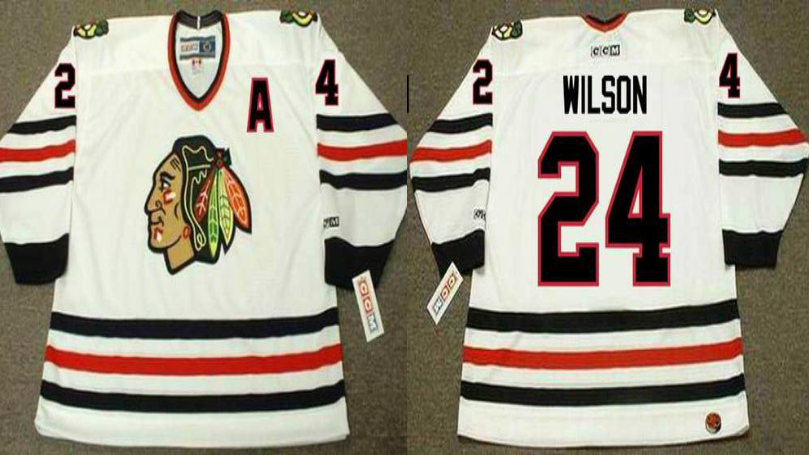 2019 Men Chicago Blackhawks 24 Wilson white CCM NHL jerseys