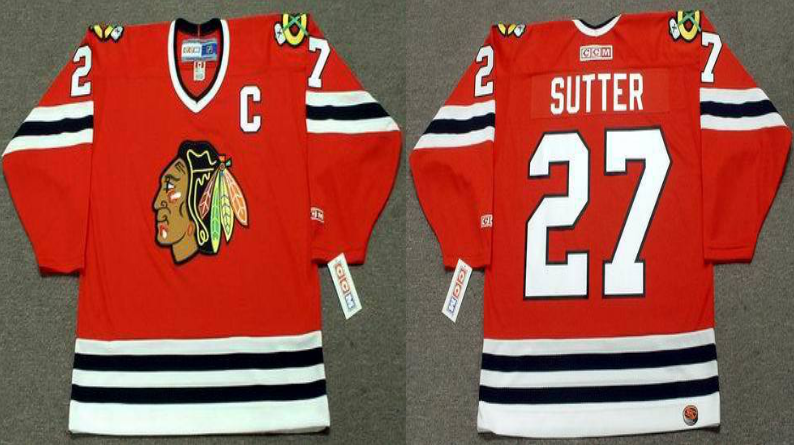 2019 Men Chicago Blackhawks 27 Sutter red CCM NHL jerseys