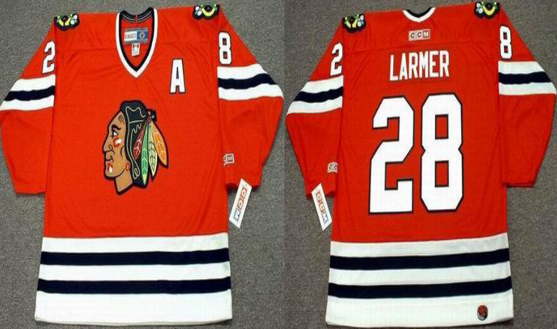 2019 Men Chicago Blackhawks 28 Larmer red style 2 CCM NHL jerseys