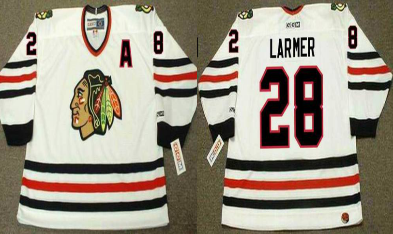 2019 Men Chicago Blackhawks 28 Larmer white CCM NHL jerseys