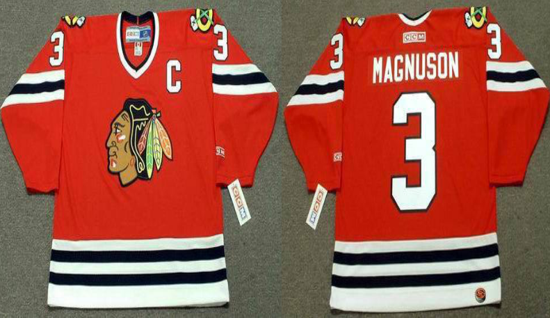2019 Men Chicago Blackhawks 3 Magnuson red CCM NHL jerseys
