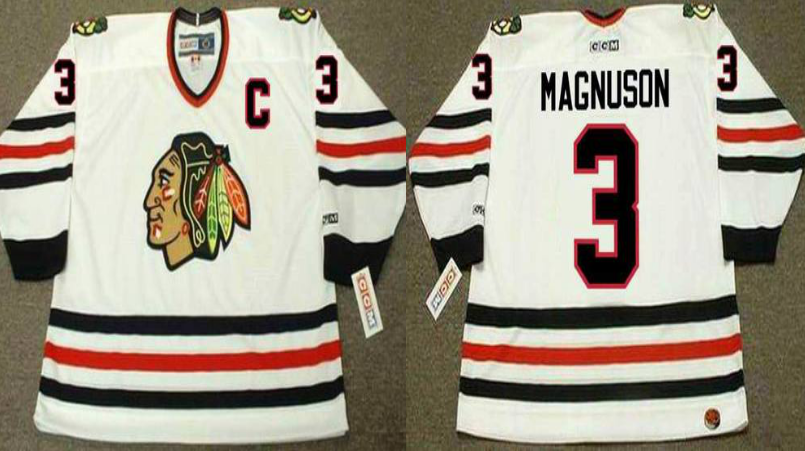 2019 Men Chicago Blackhawks 3 Magnuson white CCM NHL jerseys