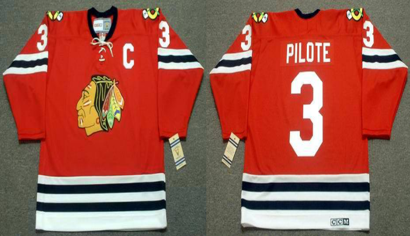 2019 Men Chicago Blackhawks 3 Pilote red CCM NHL jerseys