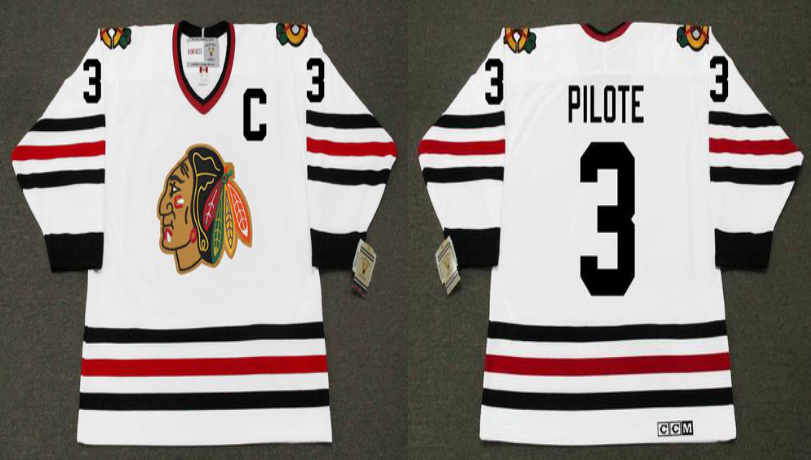 2019 Men Chicago Blackhawks 3 Pilote white CCM NHL jerseys