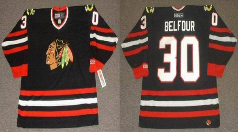 2019 Men Chicago Blackhawks 30 Belfour black CCM NHL jerseys