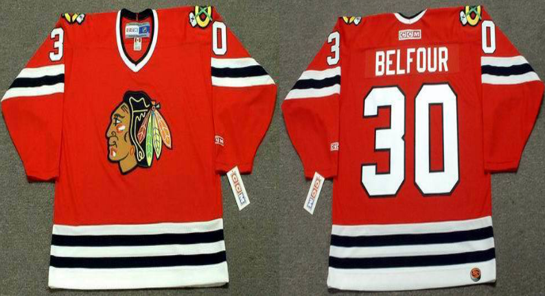 2019 Men Chicago Blackhawks 30 Belfour red style 2 CCM NHL jerseys