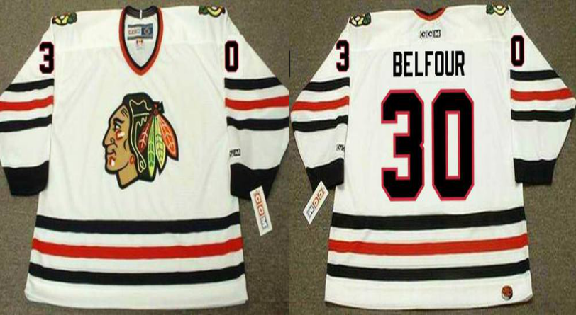 2019 Men Chicago Blackhawks 30 Belfour white CCM NHL jerseys