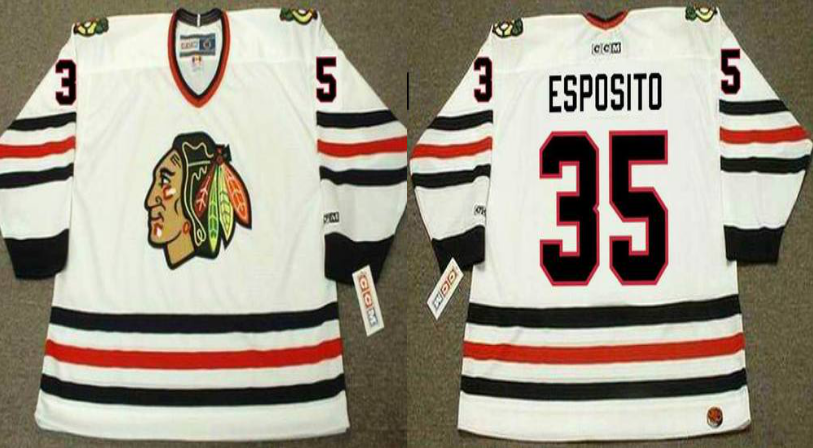 2019 Men Chicago Blackhawks 35 Esposito white style 2 CCM NHL jerseys