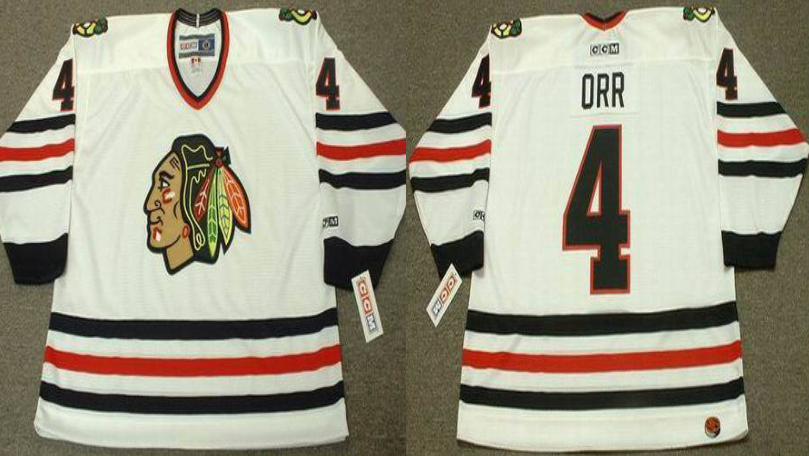 2019 Men Chicago Blackhawks 4 ORR White CCM NHL jerseys