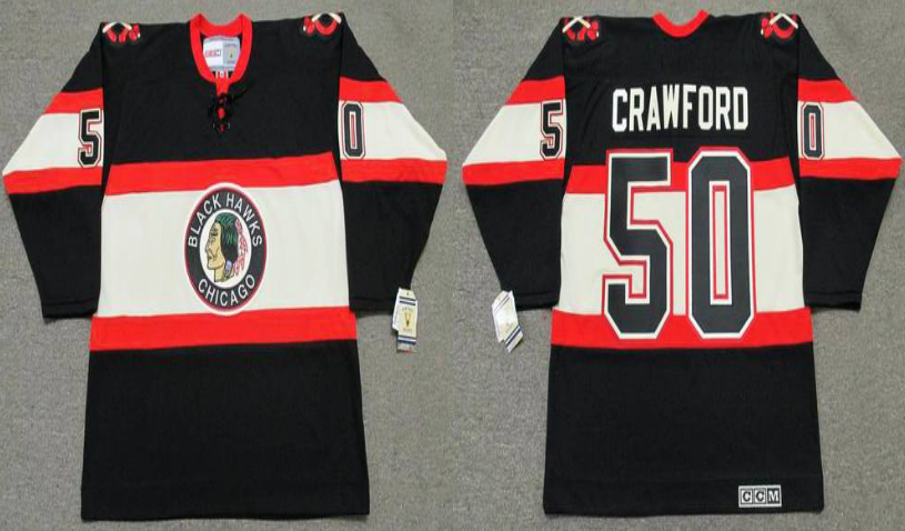 2019 Men Chicago Blackhawks 50 Crawford black CCM NHL jerseys