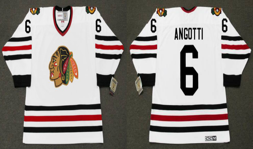 2019 Men Chicago Blackhawks 6 Angotti white CCM NHL jerseys