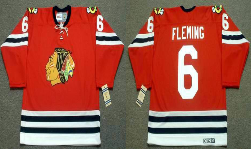 2019 Men Chicago Blackhawks 6 Fleming red CCM NHL jerseys