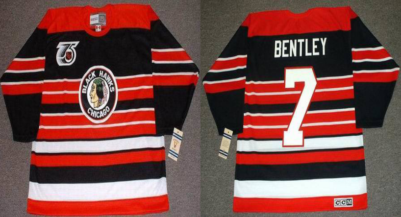 2019 Men Chicago Blackhawks 7 Bentley red CCM NHL jerseys