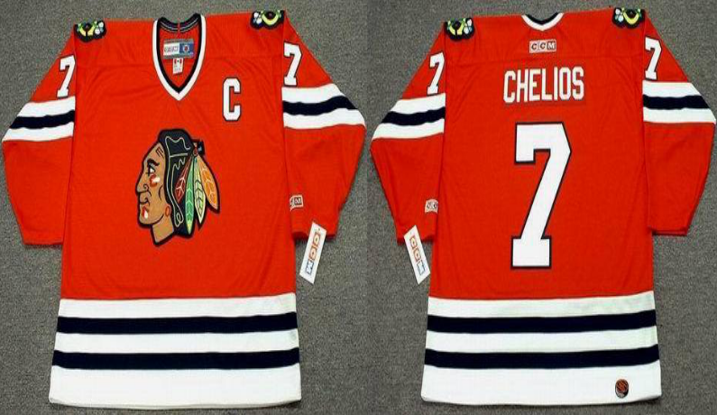2019 Men Chicago Blackhawks 7 Chelios red CCM NHL jerseys