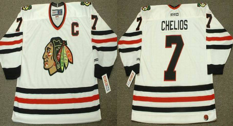 2019 Men Chicago Blackhawks 7 Chelios white CCM NHL jerseys