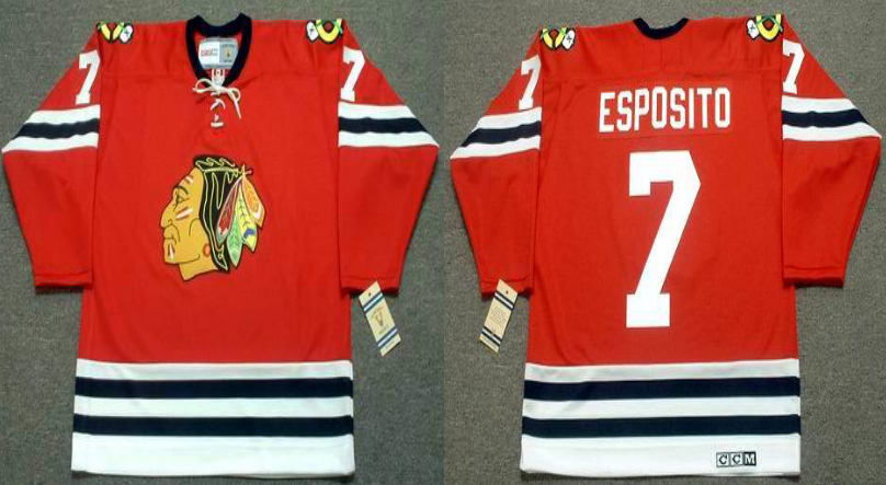 2019 Men Chicago Blackhawks 7 Esposito red CCM NHL jerseys