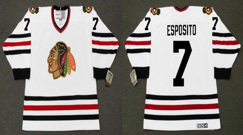 2019 Men Chicago Blackhawks 7 Esposito white CCM NHL jerseys