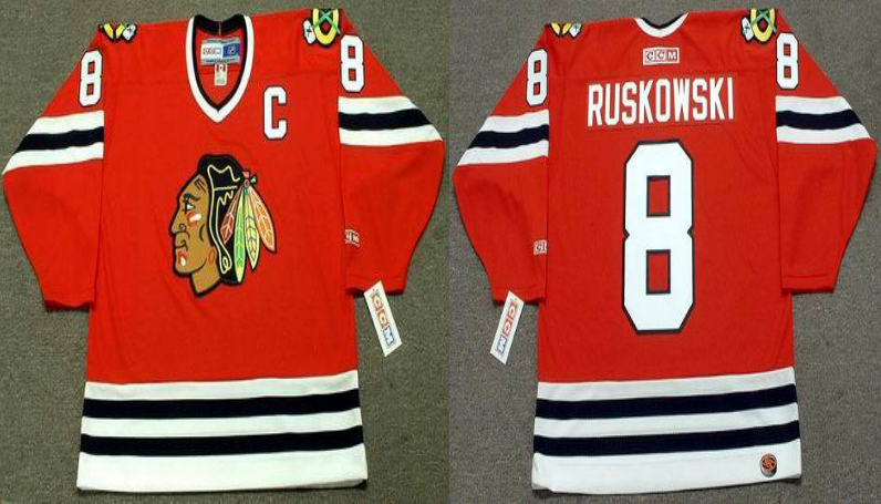 2019 Men Chicago Blackhawks 8 Ruskowski red CCM NHL jerseys