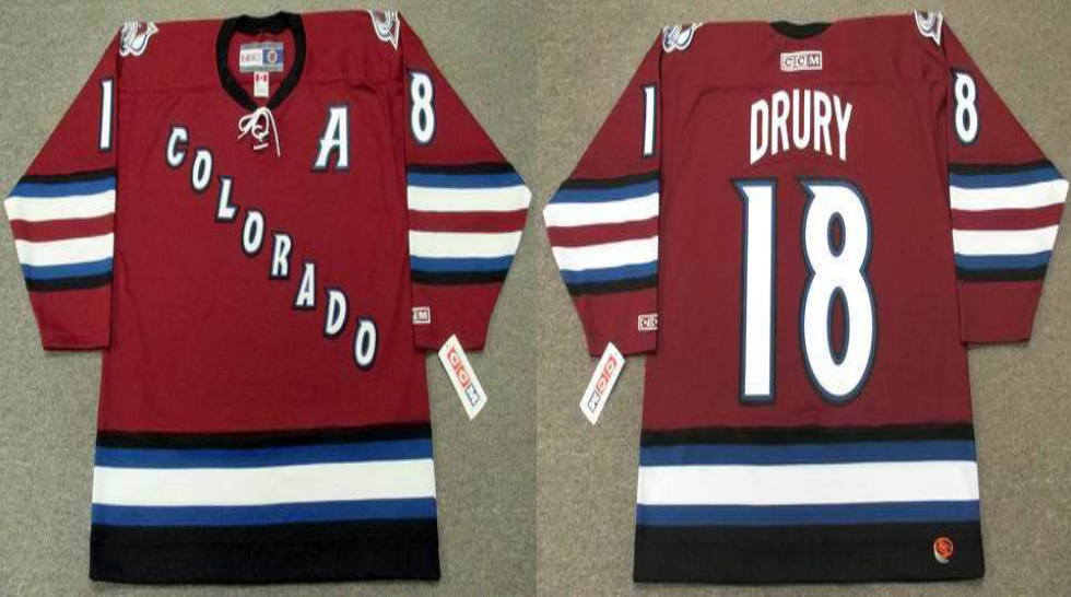 2019 Men Colorado Avalanche 18 Drury red CCM NHL jerseys