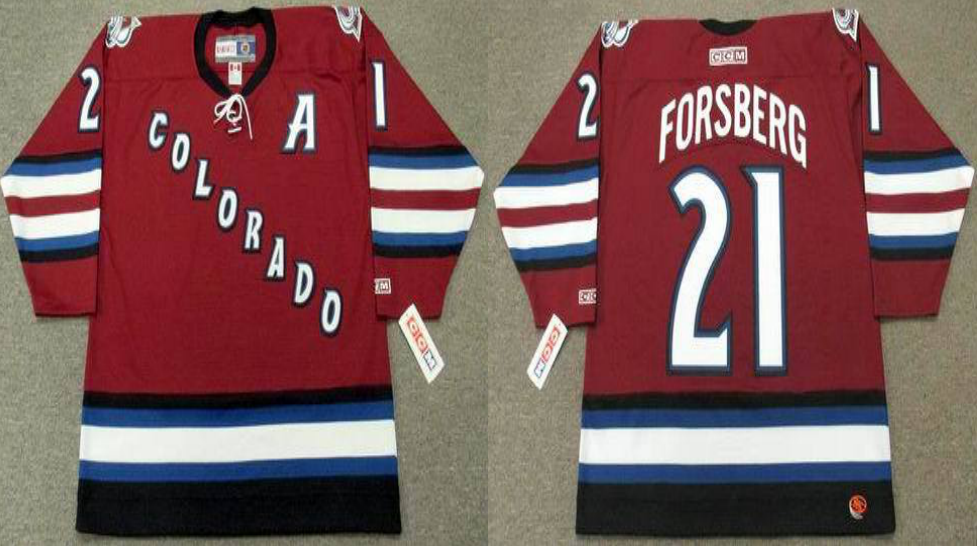 2019 Men Colorado Avalanche 21 Forsberg red style 2 CCM NHL jerseys