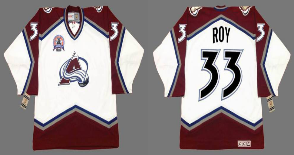 2019 Men Colorado Avalanche 33 Roy white CCM NHL jerseys