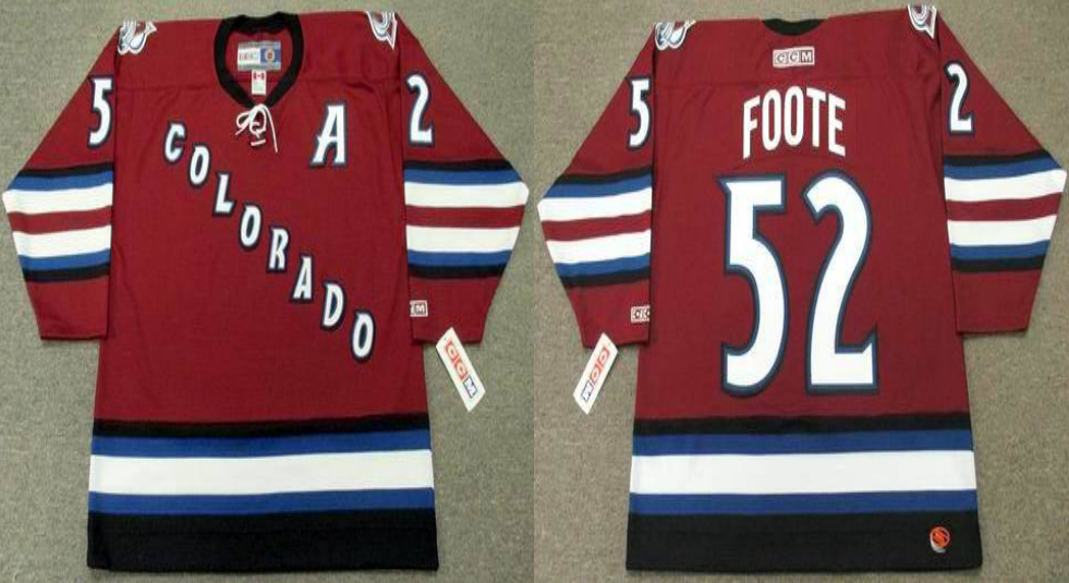2019 Men Colorado Avalanche 52 Foote red style 2 CCM NHL jerseys