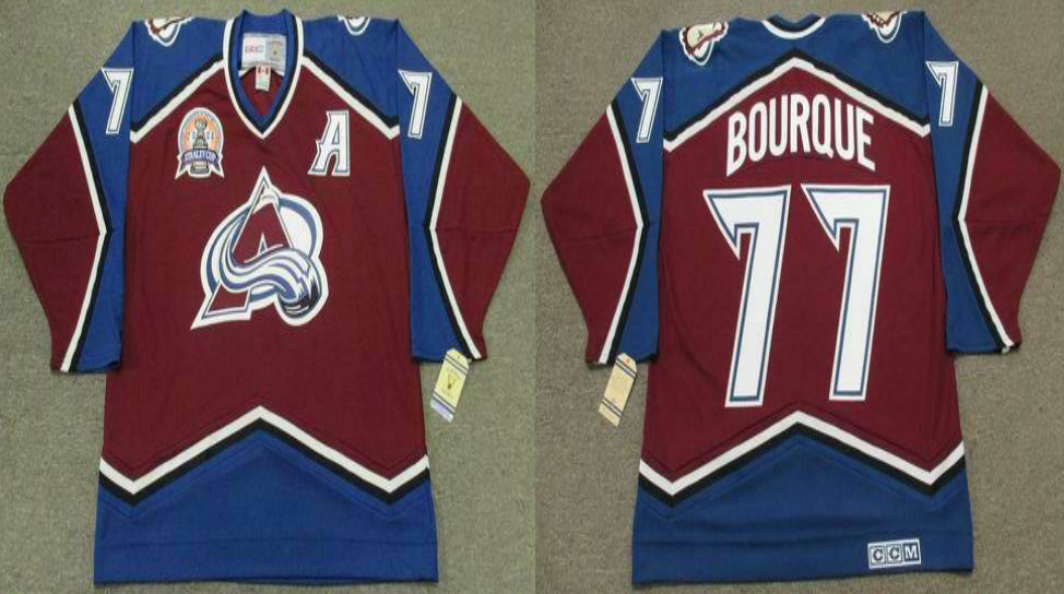 2019 Men Colorado Avalanche 77 Bourque red CCM NHL jerseys