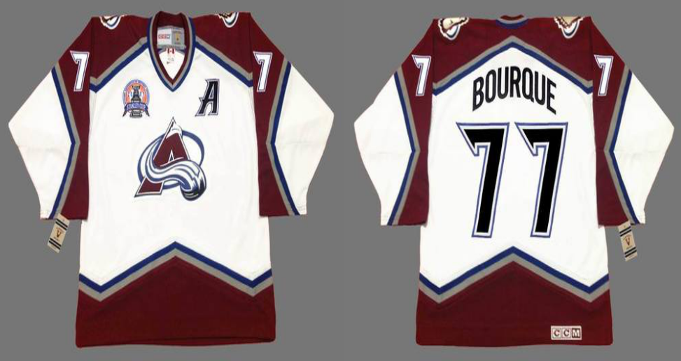 2019 Men Colorado Avalanche 77 Bourque white CCM NHL jerseys
