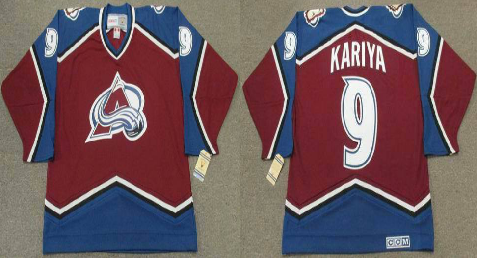 2019 Men Colorado Avalanche 9 Kariya red CCM NHL jerseys