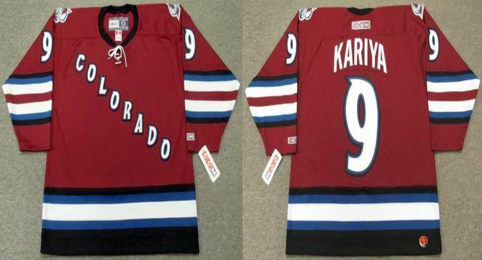 2019 Men Colorado Avalanche 9 Kariya red style 2 CCM NHL jerseys