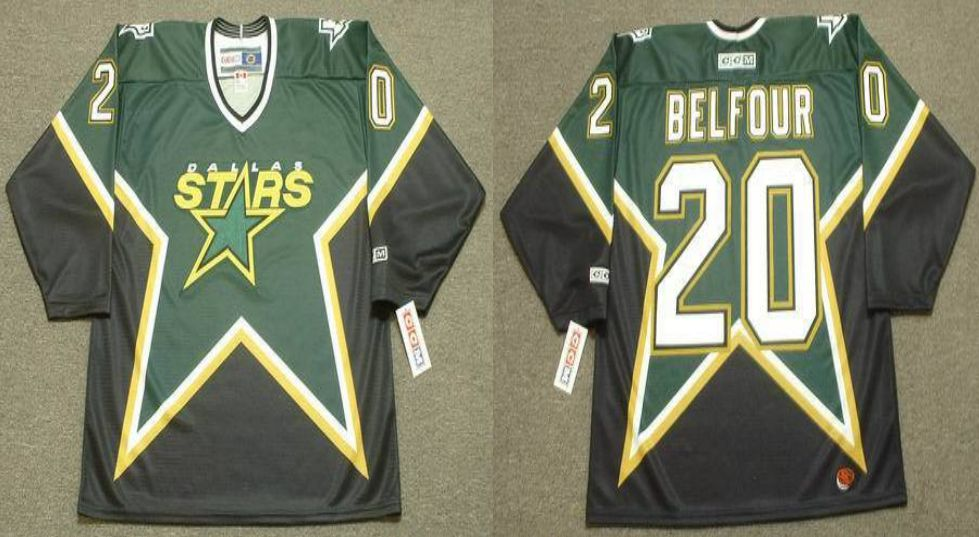2019 Men Dallas Stars 20 Belfour Black CCM NHL jerseys