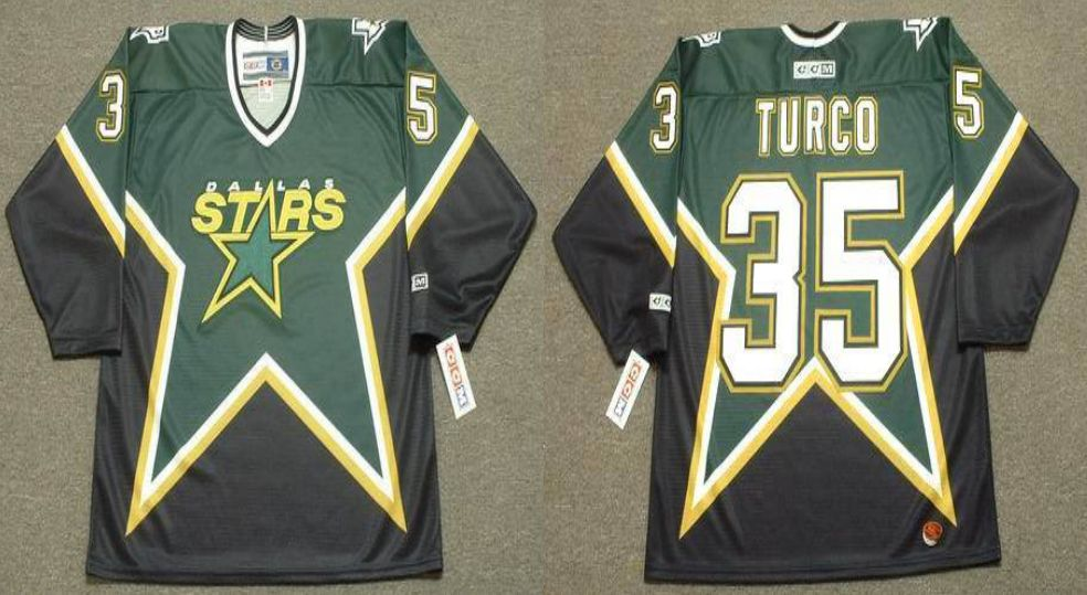 2019 Men Dallas Stars 35 Turco Black CCM NHL jerseys