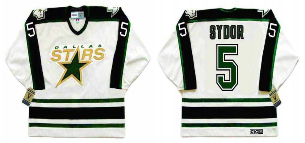 2019 Men Dallas Stars 5 Sydor White CCM NHL jerseys