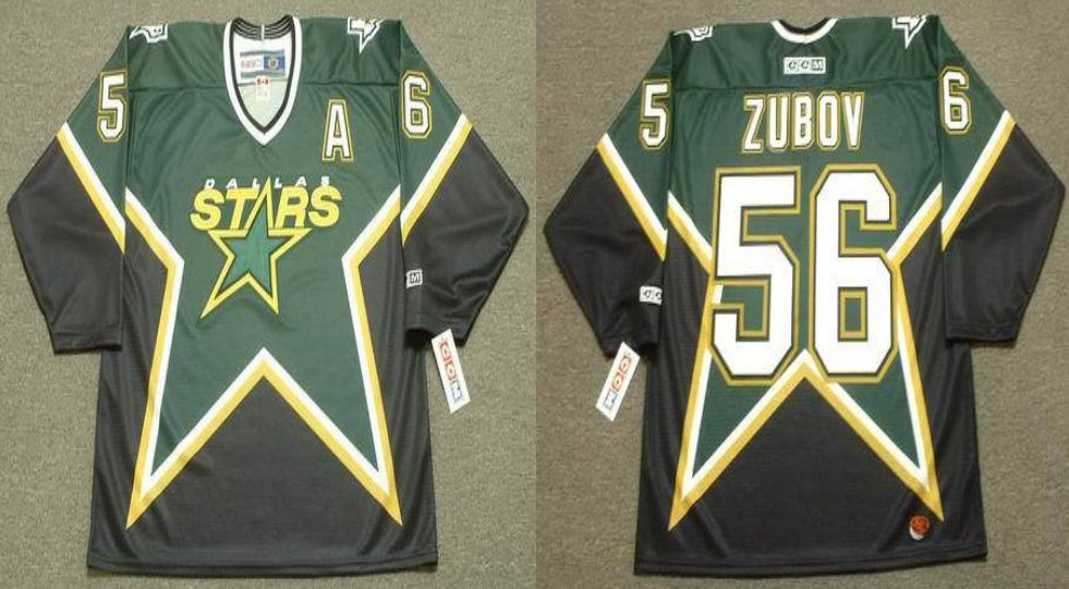 2019 Men Dallas Stars 56 Zubov Black CCM NHL jerseys