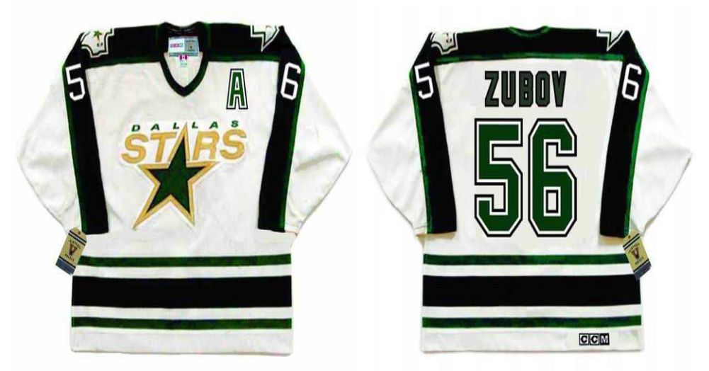 2019 Men Dallas Stars 56 Zubov White CCM NHL jerseys