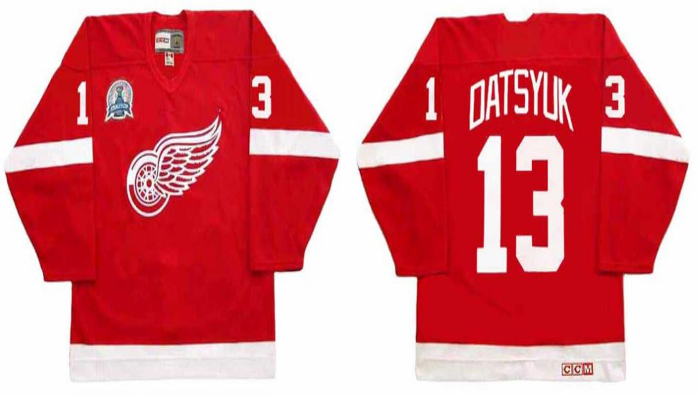 2019 Men Detroit Red Wings 13 Datsyuk Red CCM NHL jerseys