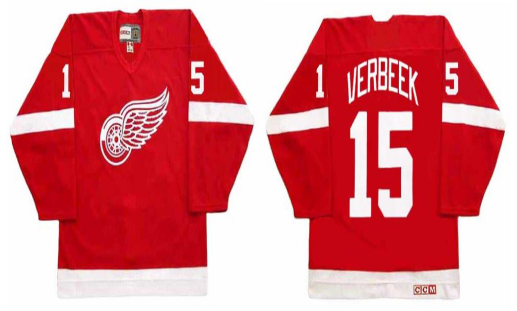 2019 Men Detroit Red Wings 15 Verbeek Red CCM NHL jerseys