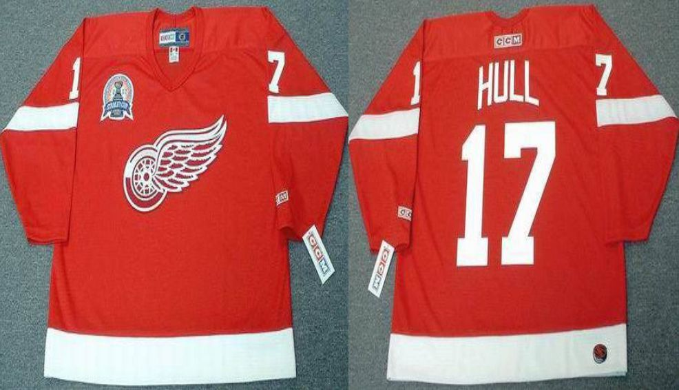 2019 Men Detroit Red Wings 17 Hull Red CCM NHL jerseys