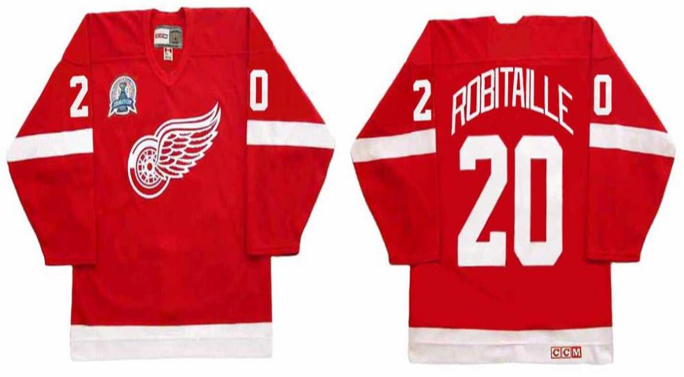 2019 Men Detroit Red Wings 20 Robitaille Red CCM NHL jerseys