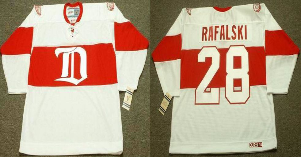 2019 Men Detroit Red Wings 28 Rafalski White CCM NHL jerseys