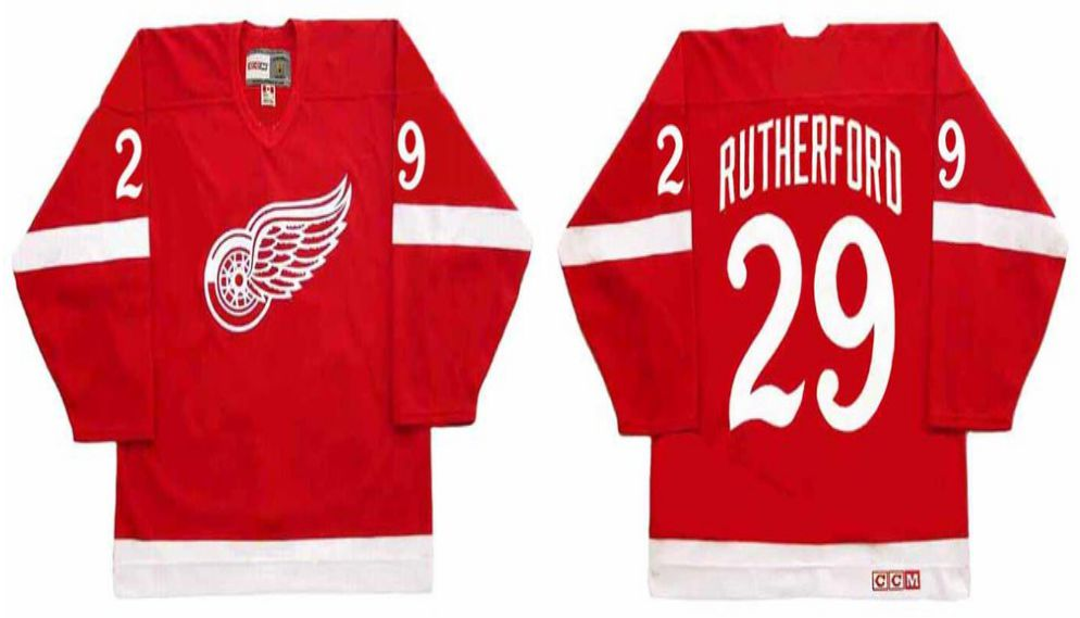 2019 Men Detroit Red Wings 29 Rutherford Red CCM NHL jerseys