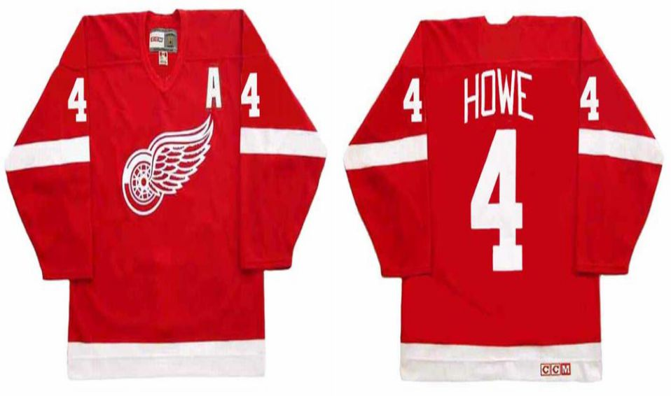 2019 Men Detroit Red Wings 4 Howe Red CCM NHL jerseys1