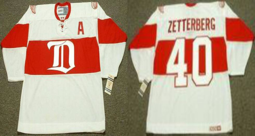 2019 Men Detroit Red Wings 40 Zetterberg White CCM NHL jerseys