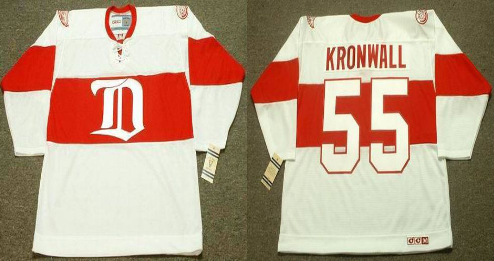 2019 Men Detroit Red Wings 55 Kronwall White CCM NHL jerseys
