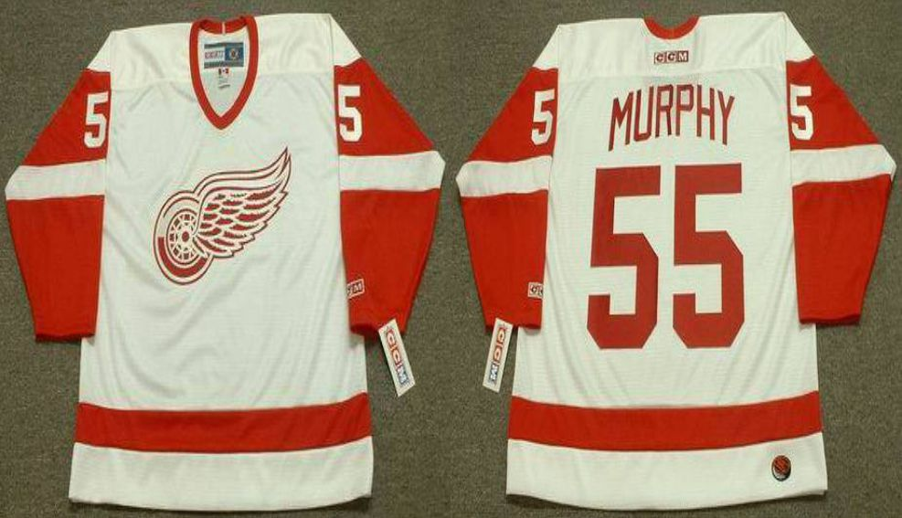 2019 Men Detroit Red Wings 55 Murphy White CCM NHL jerseys