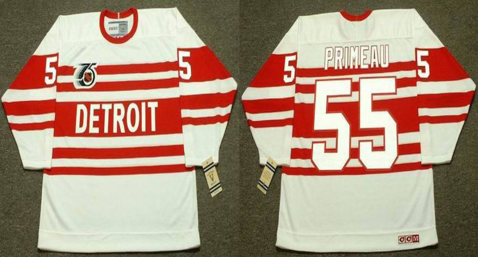 2019 Men Detroit Red Wings 55 Primeau White CCM NHL jerseys