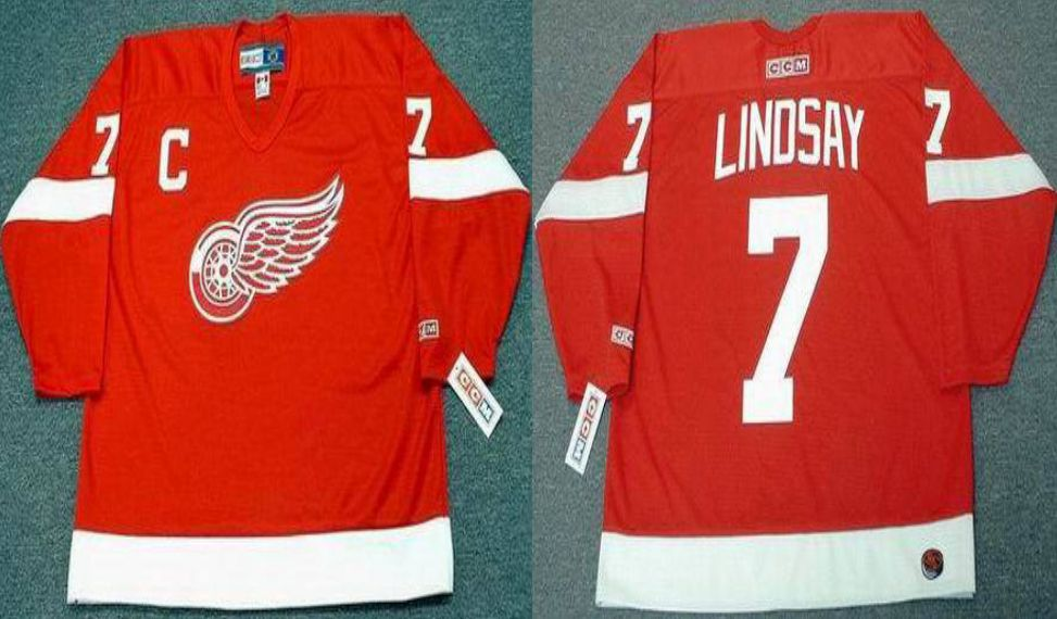 2019 Men Detroit Red Wings 7 Lindsay Red CCM NHL jerseys