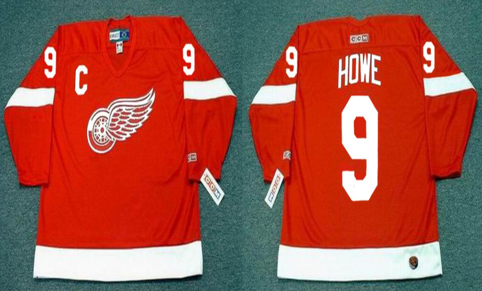 2019 Men Detroit Red Wings 9 Howe Red CCM NHL jerseys1