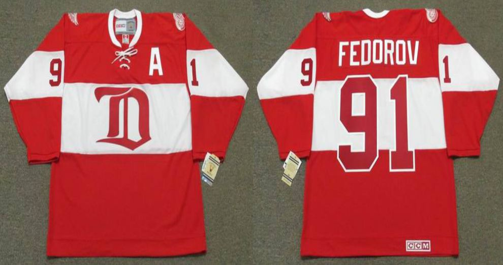 2019 Men Detroit Red Wings 91 Fedorov Red CCM NHL jerseys